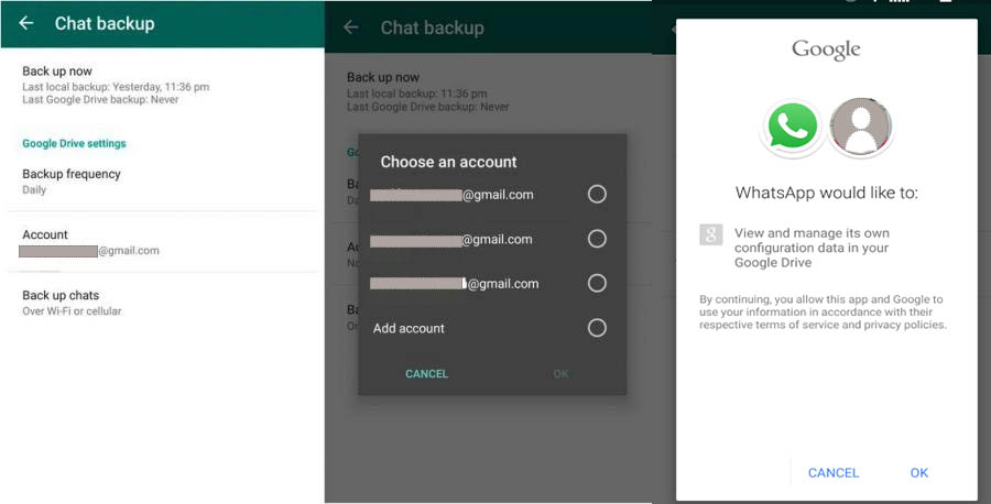 You will see this window when you will sync your Google account for backup.