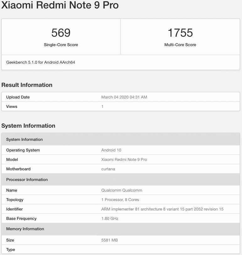 Xiaomi Redmi Note 9 Pro Spotted on Geekbench With 6GB RAM