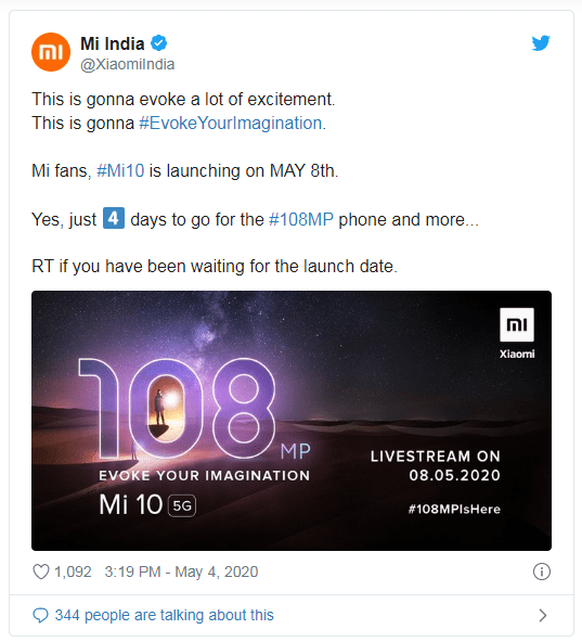 XIAOMI MI 10 FINALLY GOING TO LAUNCH IN INDIA, LAUNCH SET FOR MAY 8 2020